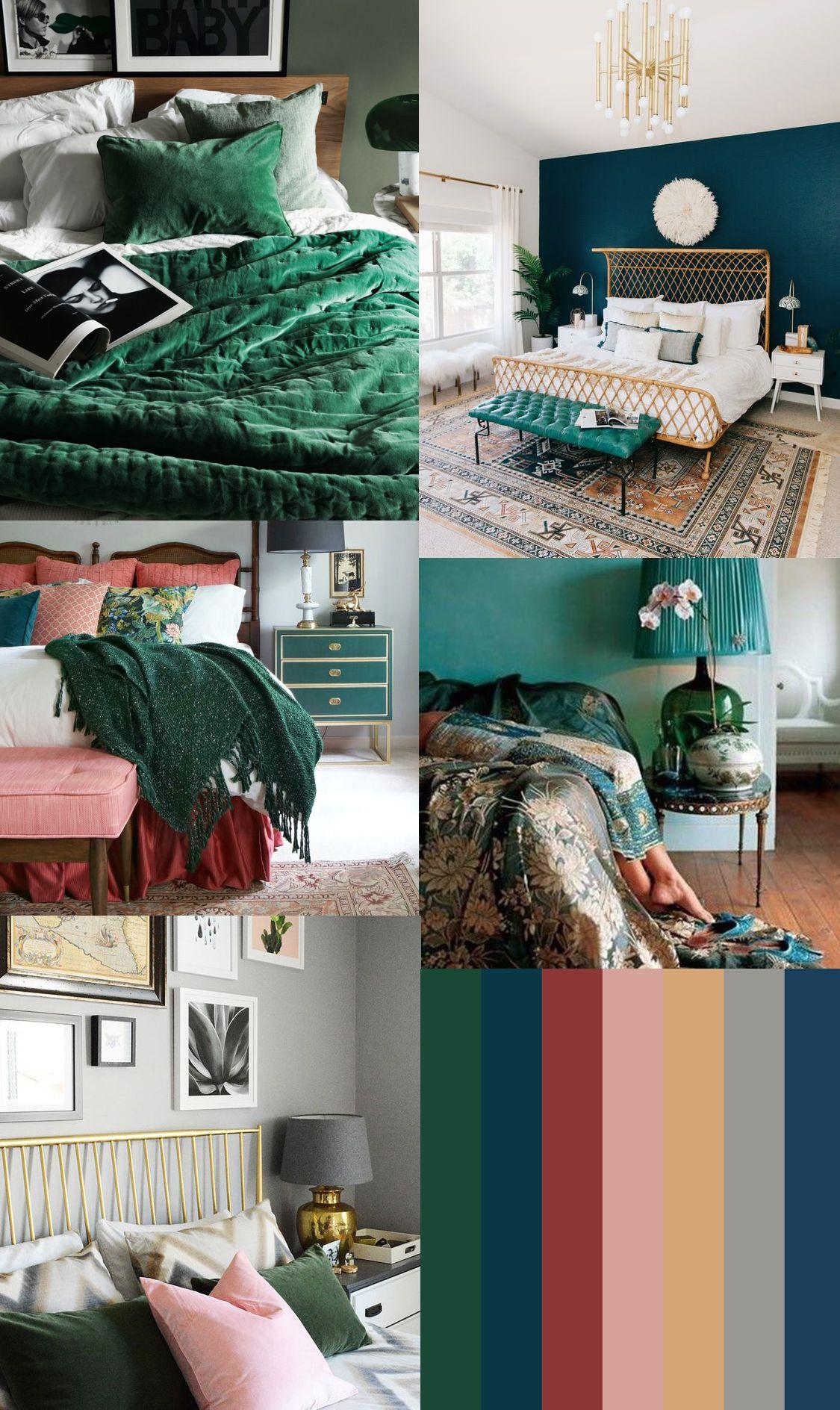 3 Emerald Red Navy Slate Blue Gold Blush Gold Room Decor Master Bedroom Colors Navy Home Decor