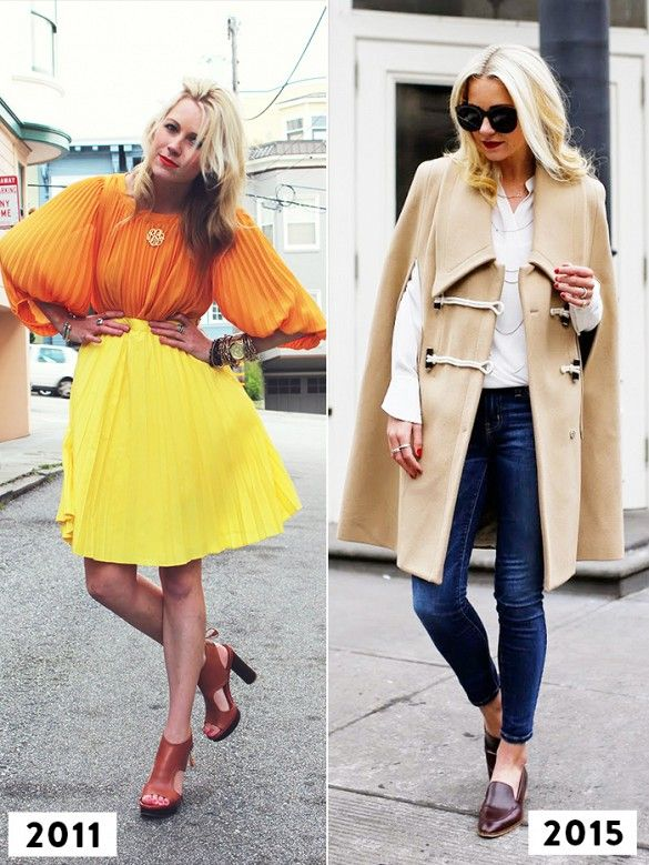 Then and now: Blair Eadie of Atlantic-Pacific went for a more colorful vibe in an orange and yellow pleated look in 2011 and a more refined camel cape and loafers ensemble in 2015