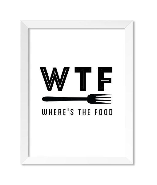 Funny Kitchen Art, Kitchen Wall Art, Kitchen Wall Decor, Kitchen Decor, Modern Kitchen Prints, Kitchen Art Prints, WTF: Where's the Food #graphicprints