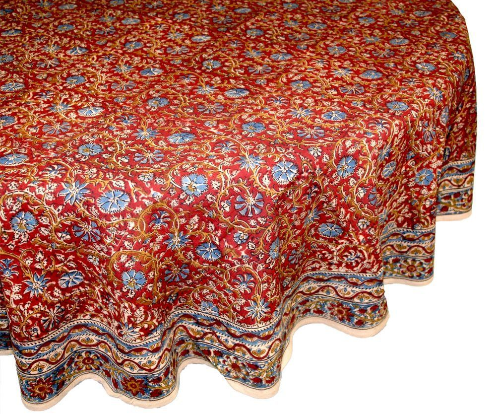 Vegetable Dye Hand Block Print Tablecloth Cotton Red Round 60x60 60x90  Napkins Placemats