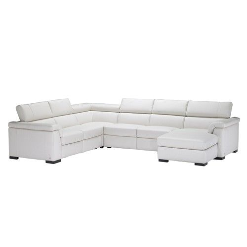 B634 Contemporary Leather Reclining Sectional Sofa With Raf Chaise