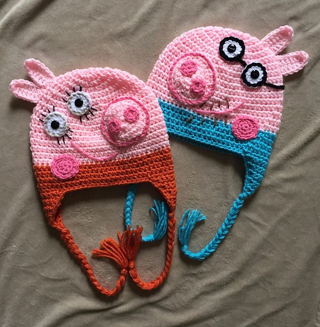 Mummy and Daddy Pig pattern by It\'s So Crochet | Gorros, Cariñositos ...