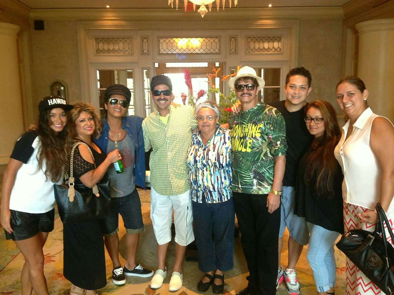 Bruno Mars with his family and uncle and auntie  | celebs    because