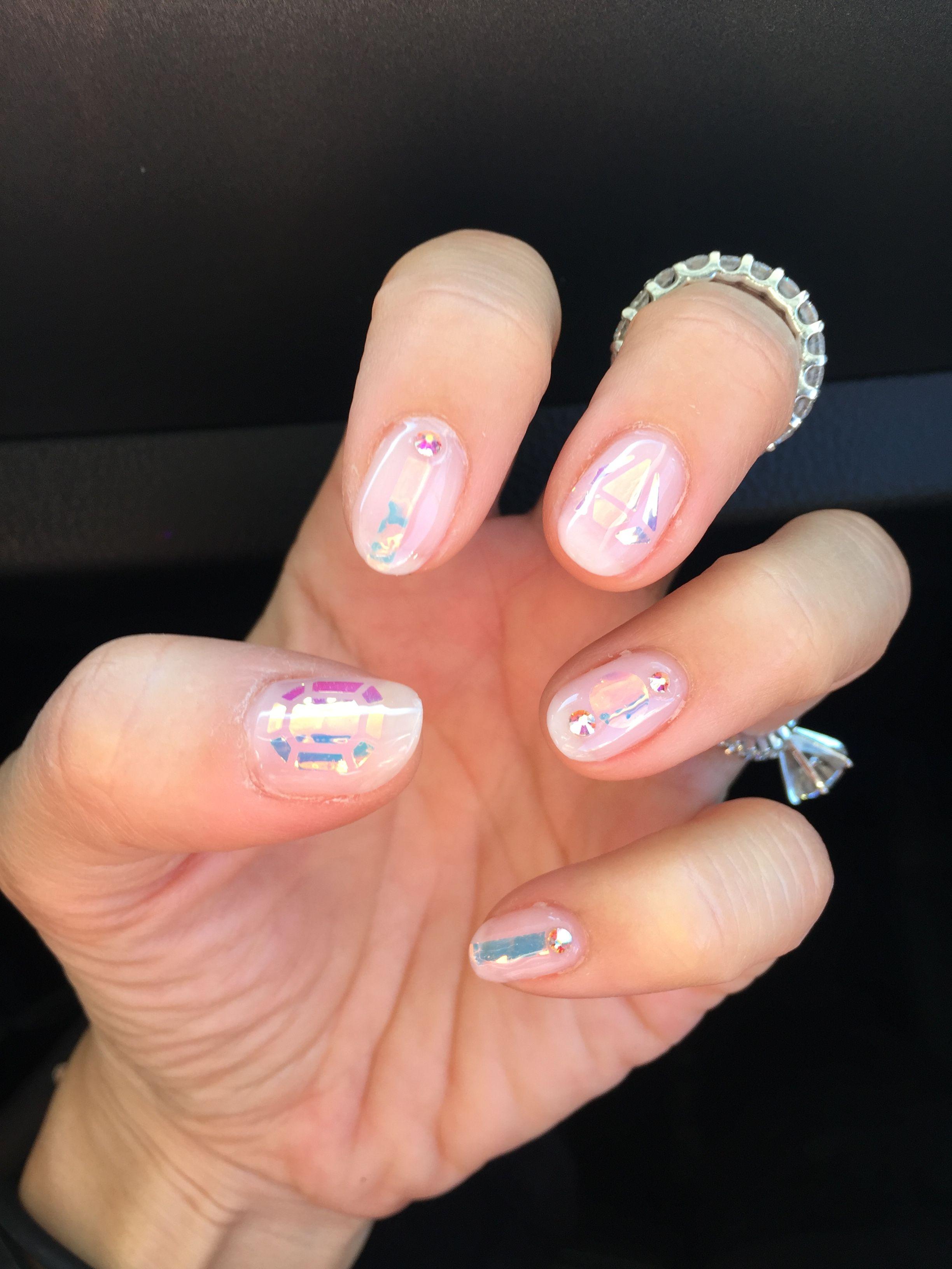 Clear pink gel design - Korean trend shattered / broken glass nails ...