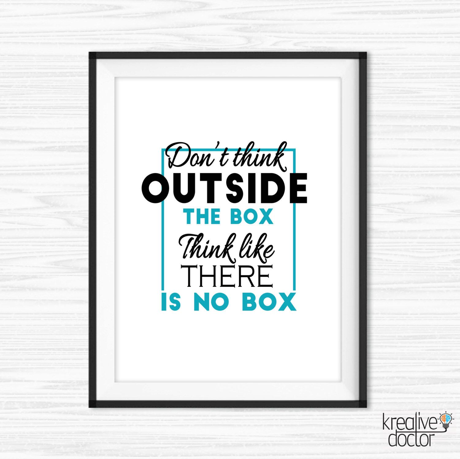 Office wall art think outside the box quote motivational wall decor printable success quotes bedroom inspirational