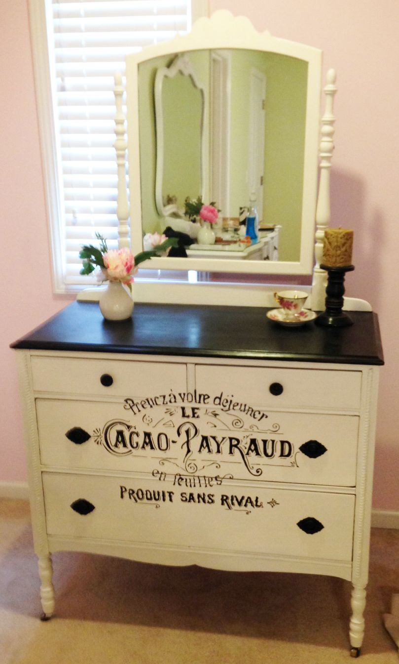 Antique dresser painted in black and lace with french script detail