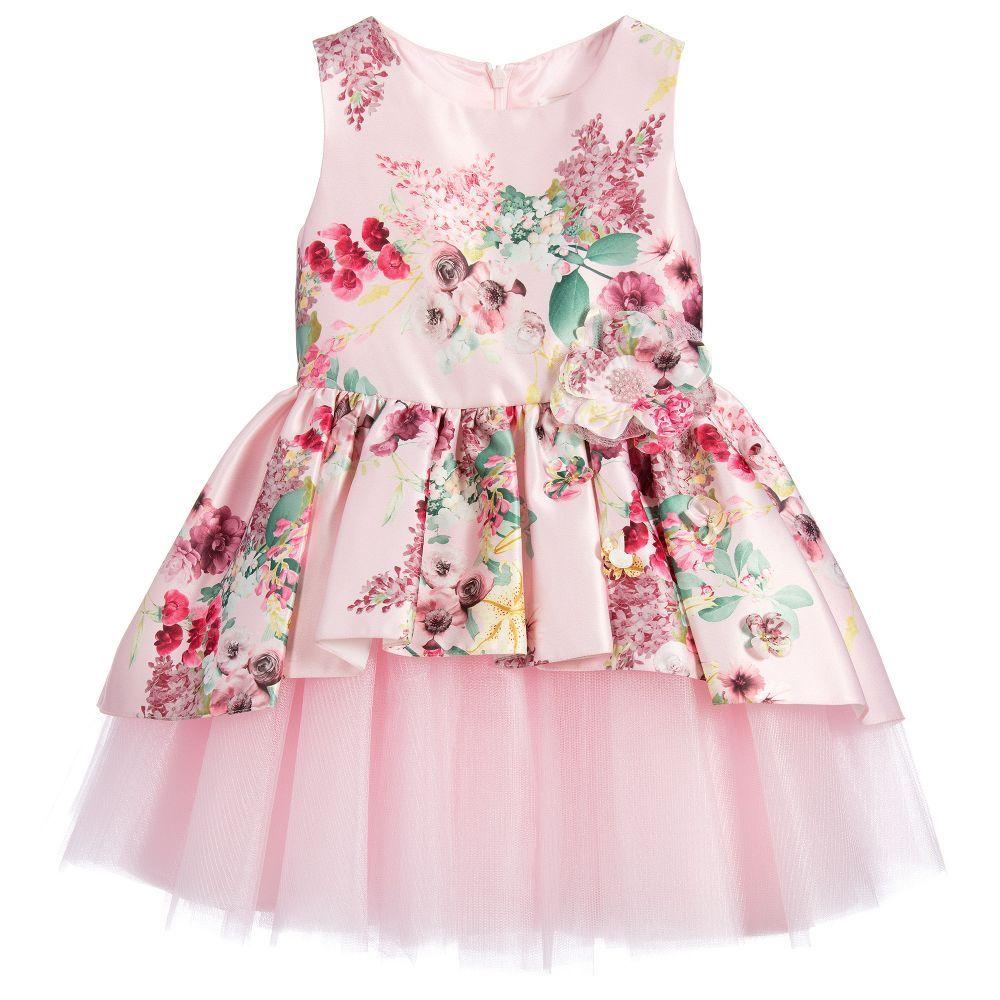 David Charles Girls Pink Floral Satin Dress at Childrensalon.com ...