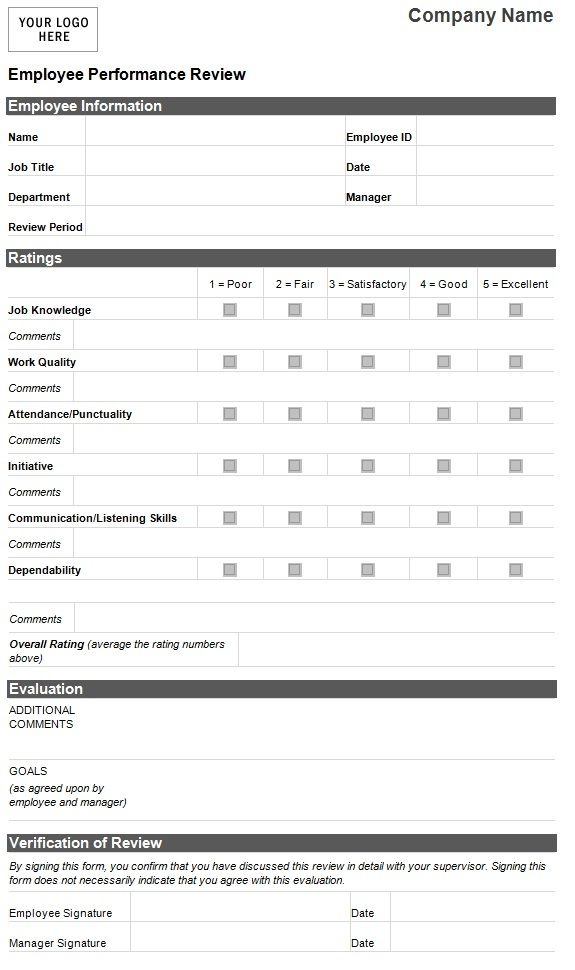 Employee Evaluation Template Performance Form Sample