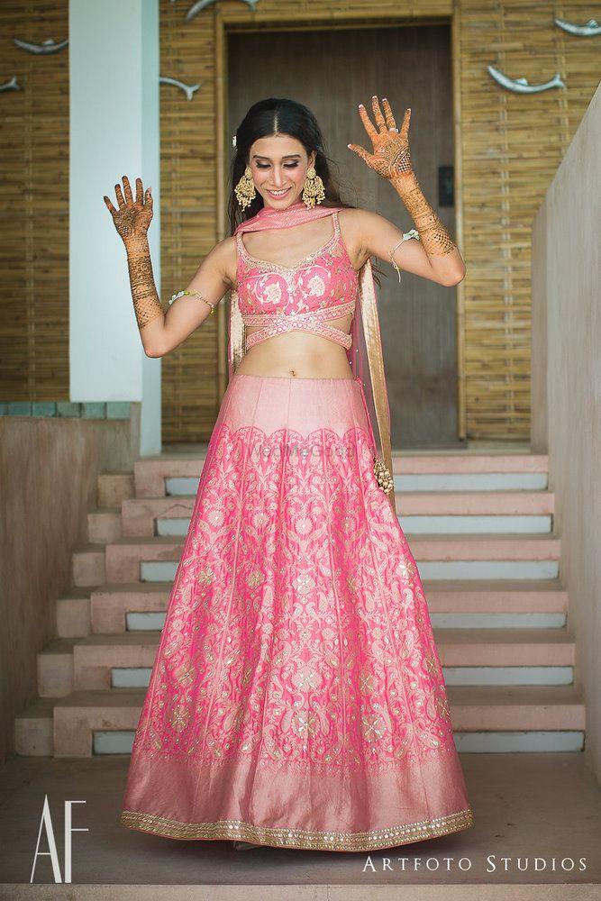 Benarasi light pink lehenga with unique blouse for mehendi