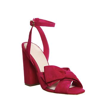 Office Amour Bow Detail Block Heels Fushia Kid Suede - High Heels