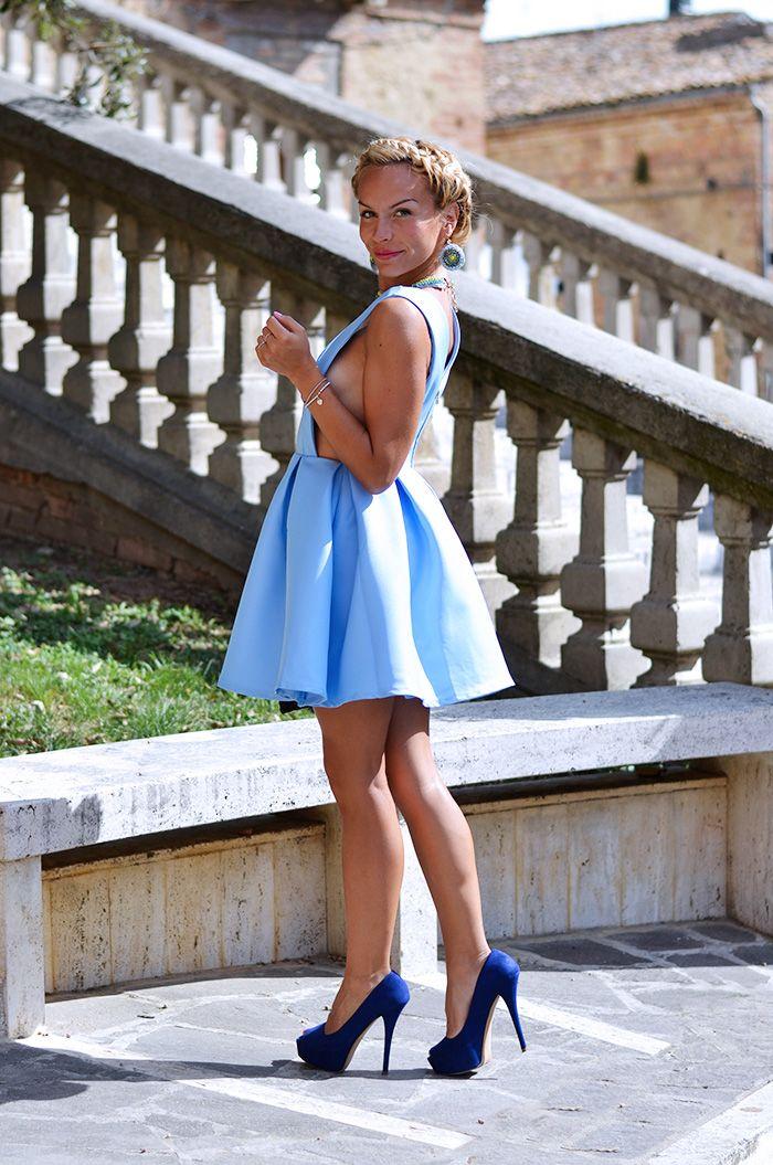 Sheinside baby blue dress, crown braid and Zara high heels - TODAY on my #fashionblog! #newpost #fashion #style #outfit #ootd #look #styleblog #fashionblog