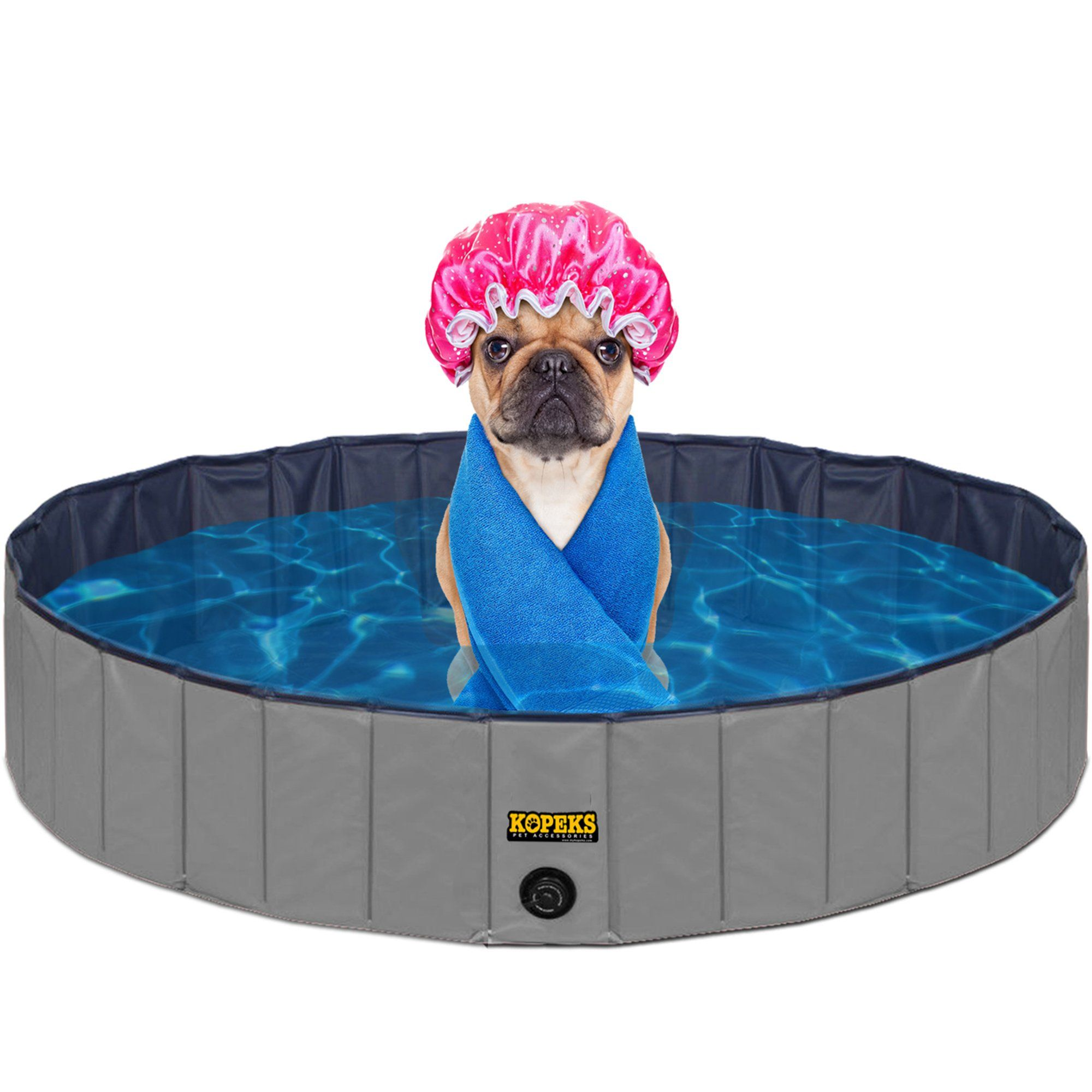 Kopeks Foldable Grey Grooming Bathing Pool Tub For Dogs Large