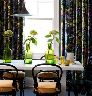 Dark Floral Curtain Fabric In Dining Room From Living Etc