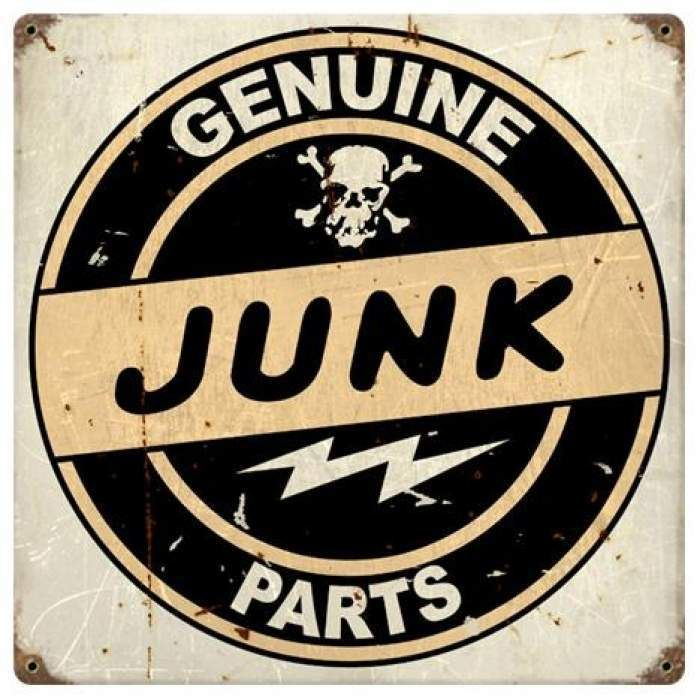 Fink Garage: Vintage Junk Parts Metal Sign 12 X 12 Inches