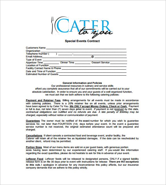 Special Events Catering Contract Free Download In Pdf With Images