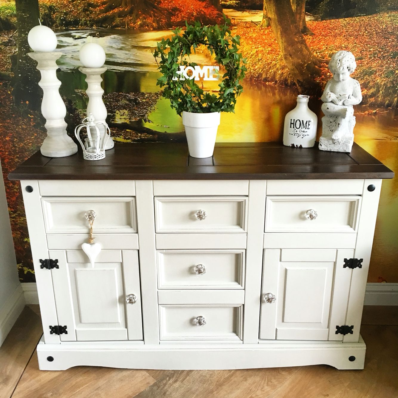 Incroyable Mexican Pine Sideboard Painted In Autentico Bath Stone And Lightly  Distressed
