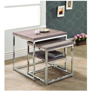 @Overstock.com   Reclaimed Wood Side End Nesting Tables Http://www