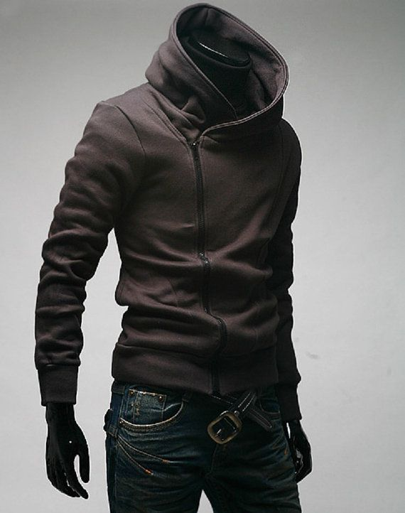 2013 handmade Men Long Sleeve Cotton luxury diagonal zipper jacket hoodie Shirt