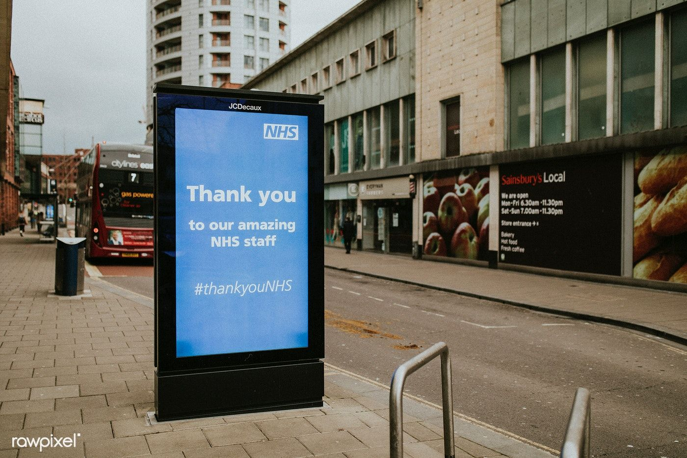 Photo of Download free image of NHS's thank you staff advert in the city during