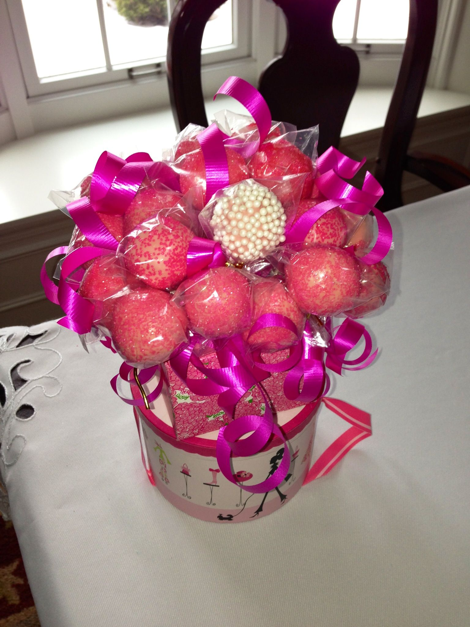 Hot Pink Glitter Birthday Cake Pop Bouquet - arrange pops easily by placing styrofoam in the bottom of a cute box #cakepopbouquet