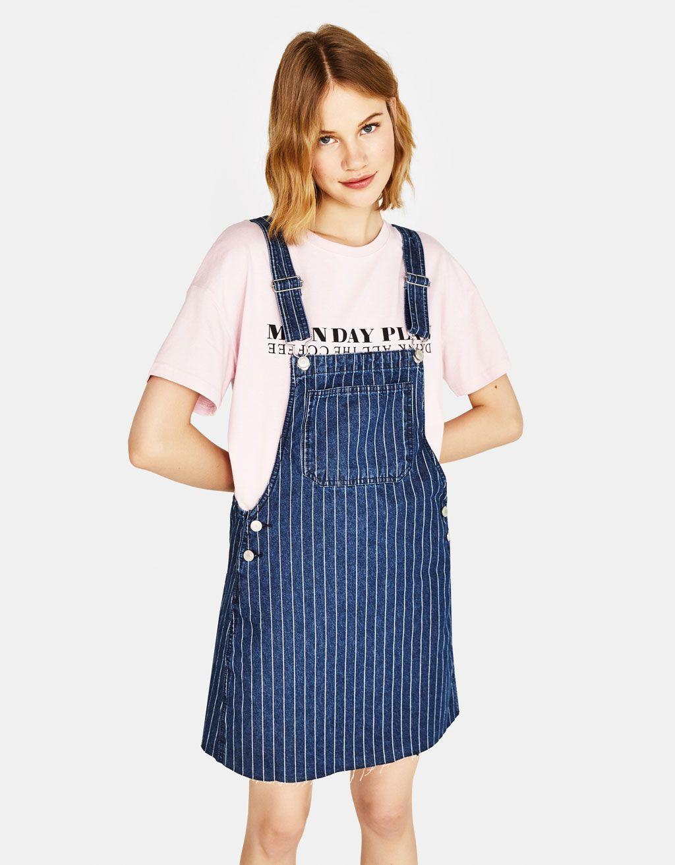 8a4750b8e2e Denim pinafore dress with stripes