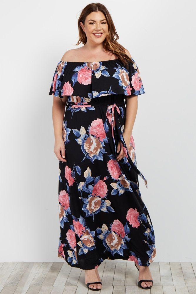 165c433e7836 Black Floral Off Shoulder Sash Tie Plus Maxi Dress in 2019 | Para Mi ...