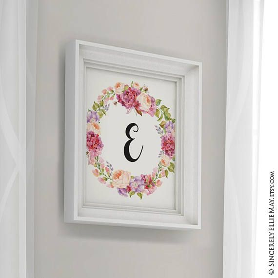 Nursery Monogram E Letter Nursery Floral Print Initial Letter