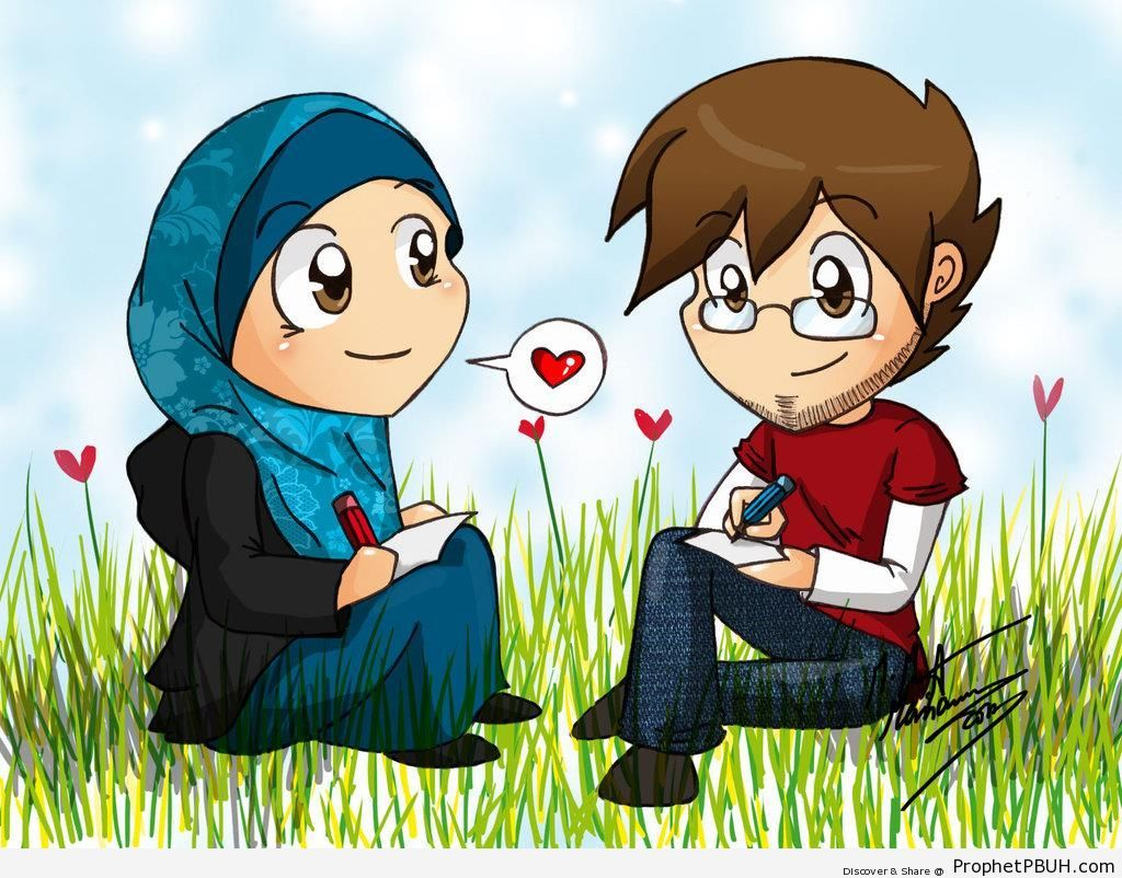 muslim couple drawing together - drawings ← prev next → | muslim