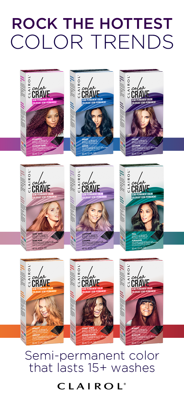 Mix And Match Bright Bold Colors To Create One Of A Kind Rainbow Hair Clairol Color Crave Semi Permanent Diy Hair Dye Semi Permanent Hair Color Clairol Color