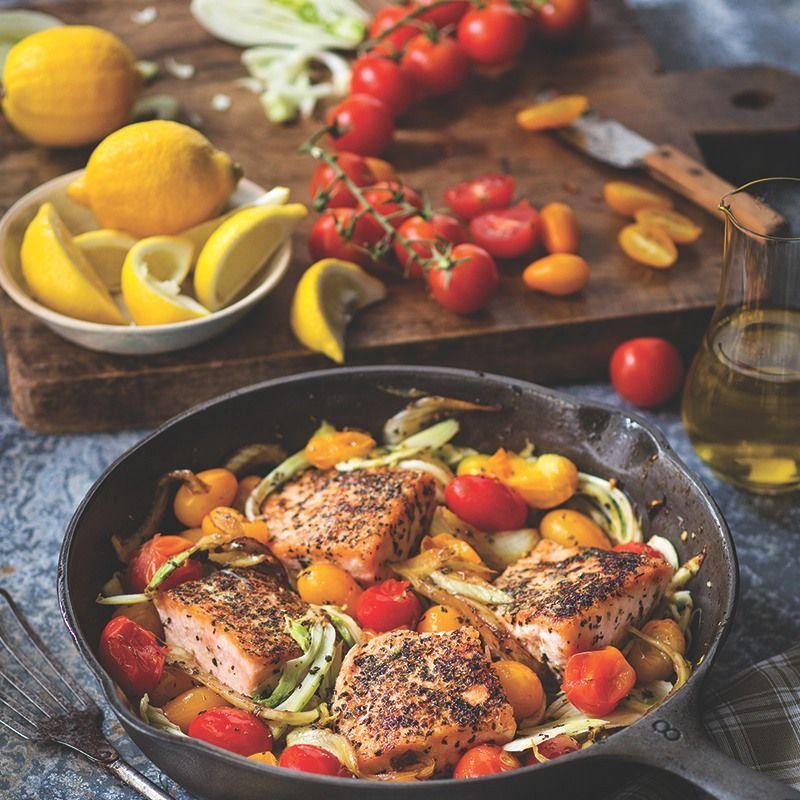 Mediterranean Style Recipes: Mediterranean Pan-Roasted Salmon