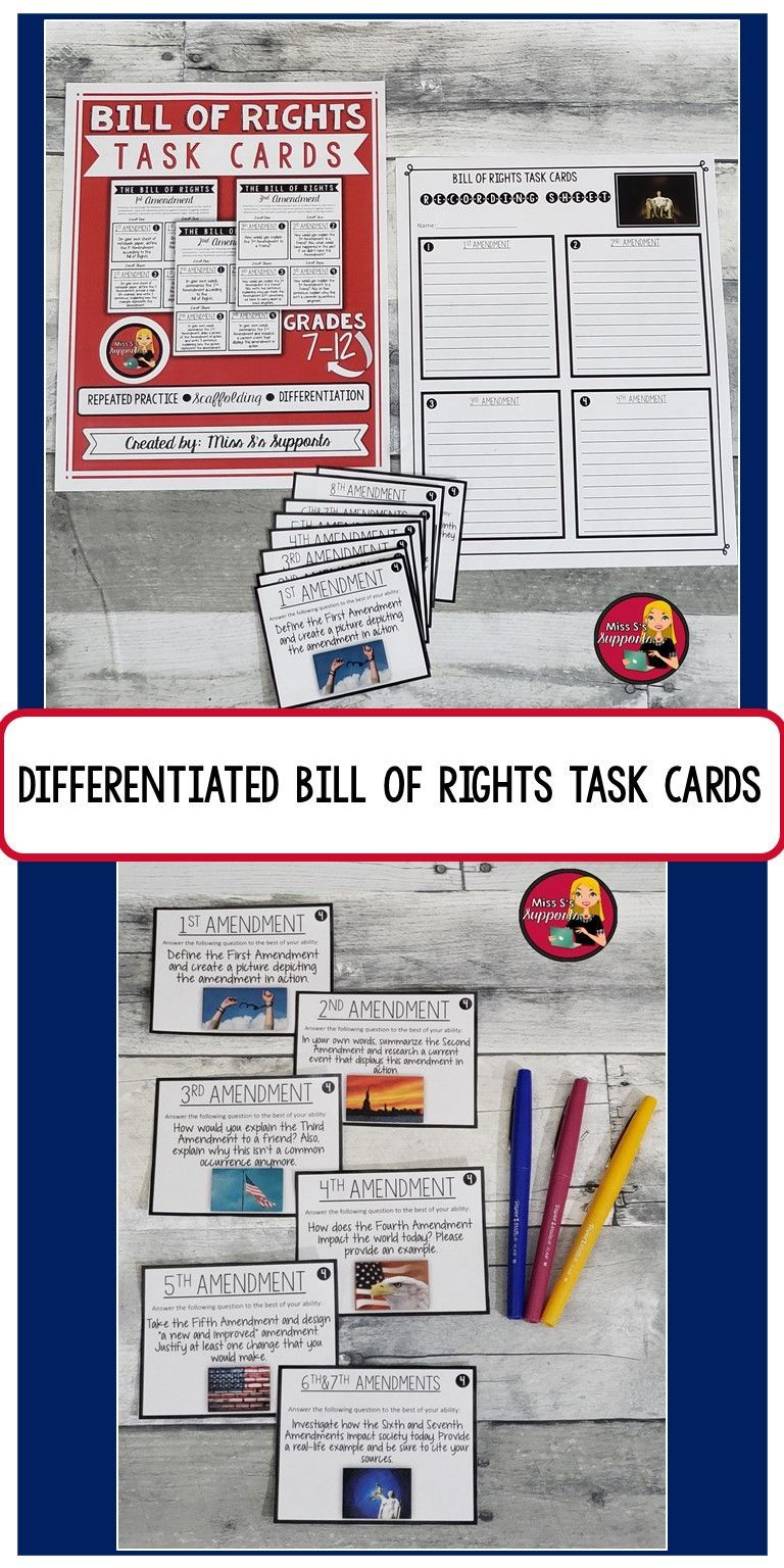 Bill Of Rights Activity Constitutional Amendments Us History Task Cards Task Cards Bill Of Rights High School Lesson Plans