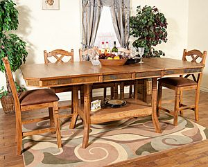 This Rustic Oak & Slate Collection dining table features a height ...
