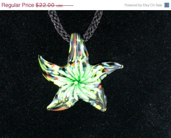 on sale Murano glass starfish in green with Kumihimo by betsstuff, $16.50