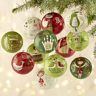 12 days of christmas ornaments set of 12 - 12 Days Of Christmas Ornament Set