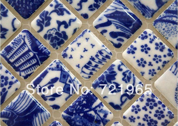 Economico lucido porcellanato piastrelle mosaico pcmt123 blu mosaico in ceramica gres - Mosaico bagno economico ...