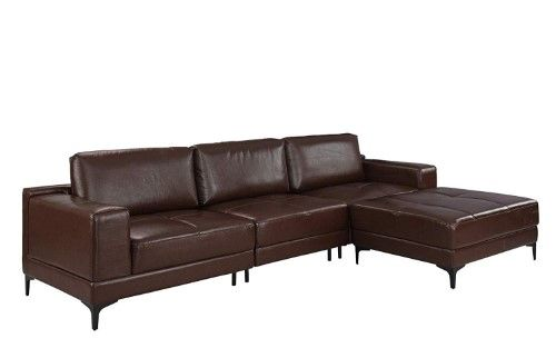 Modern Leather Sectional Sofa 114.9' inch, Living Room L ...