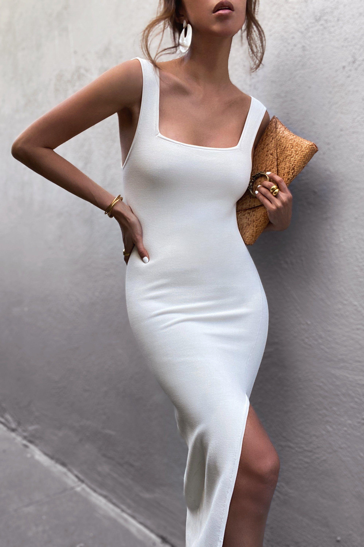Basic Square Neck Midi Dress Ivory Elegant Midi Dresses Casual Dress Outfits Midi Dress Casual [ 3000 x 2000 Pixel ]