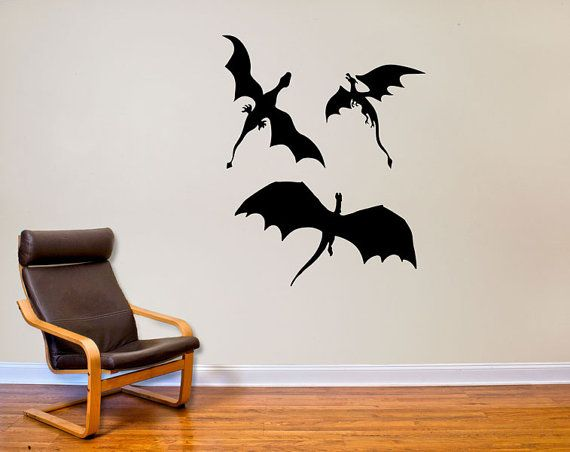3 dragons wall decal decor inspiredgame of thrones on etsy