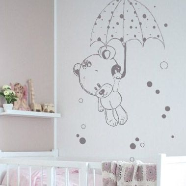 stickers nounours et son parapluie chambre enfant. Black Bedroom Furniture Sets. Home Design Ideas