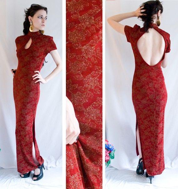 80s - long date night - Chinese - Asian inspired - slinky - key hole dress