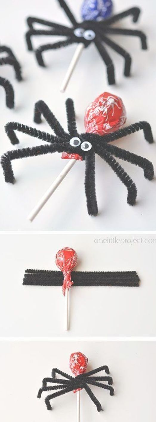 These lolly pop spiders are AMAZING! They make such an awesome Halloween treat idea! And best of all, they're really easy to make! They make adorably creepy party favors. They're also a great treat idea to send to school on Halloween! #halloweentreatsforschool These lolly pop spiders are AMAZING! They make such an awesome Halloween treat idea! And best of all, they're really easy to make! They make adorably creepy party favors. They're also a great treat idea to send to school on Halloween! #halloweentreatsforschool
