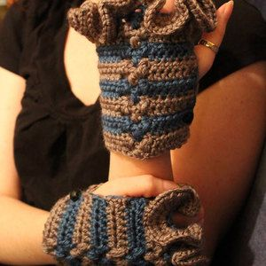 Fingerless gloves, Steampunk, grey and blue