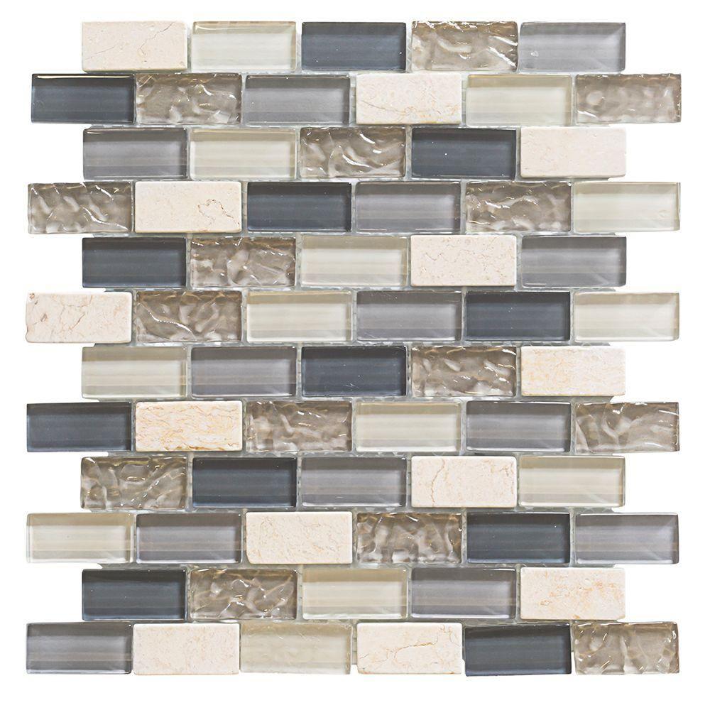 Jeffrey Court Cedar Cove 9 75 In X 11 375 8 Mm Gl Travertine Mosaic Wall Tile