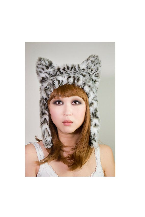 snow leopard, leopard hat, white leopard, fur hat, animal hat, aviator fur hat, aviator hat
