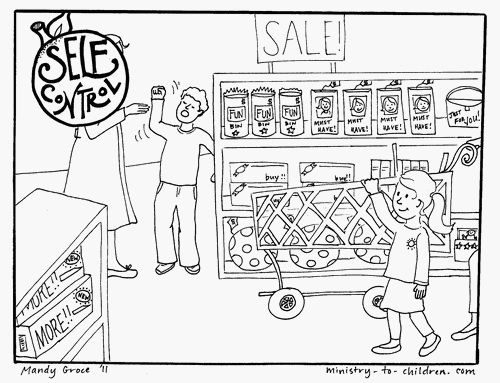 Fruits Spirit Coloring Pages: Self-Control Coloring Page (Fruit Of The Spirit)
