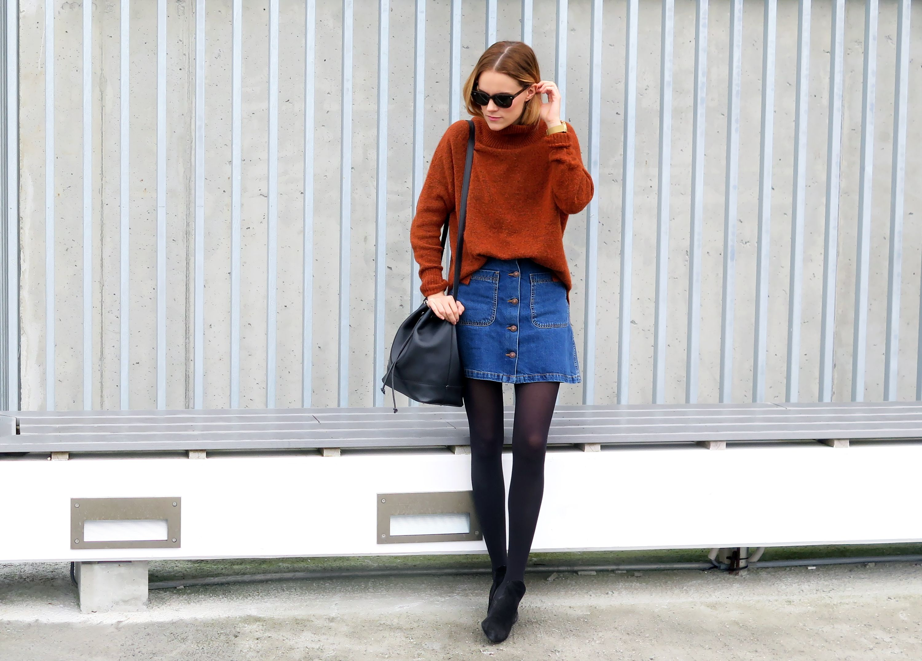 Jean Skirt Outfits Winter