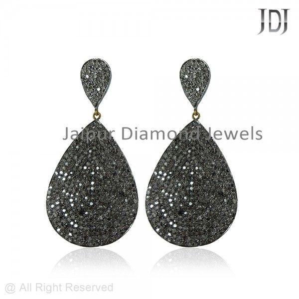 Pave Diamond Carve Shape Dangle Earrings #designer #diamond #blackdiamond #carveshape# earrings #pear #dangle #handmade #jewelry #fashion #accessories #jewels