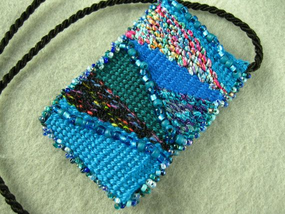 Handwoven Beaded Tapestry Pendant In Turquoise Blue By