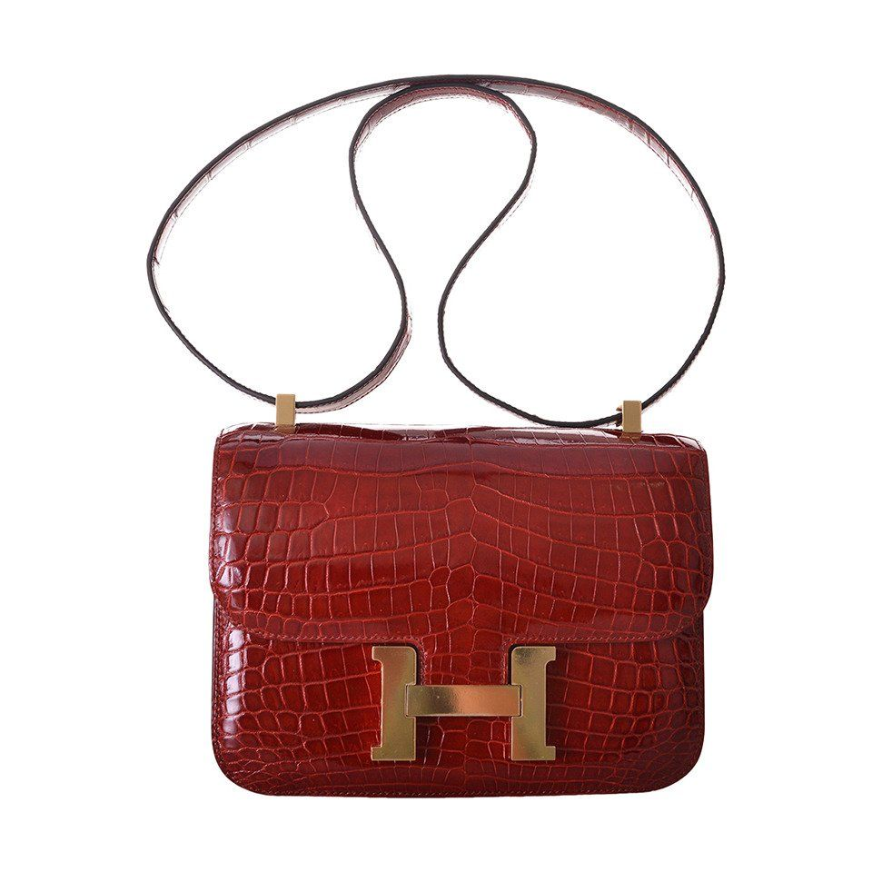 HERMES CONSTANCE CROCODILE ROUGE H BAG 24cm 2DIE JaneFinds ... adbe506a16a15