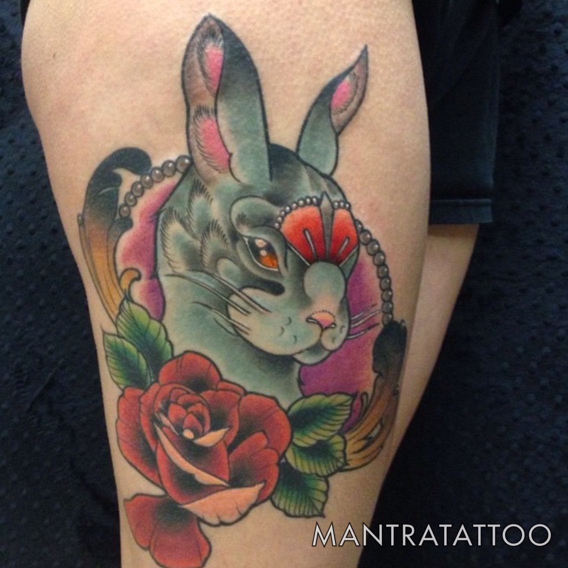 Rabbit head rose tattoo done by Mike O'Farrell here at @mantratattoo